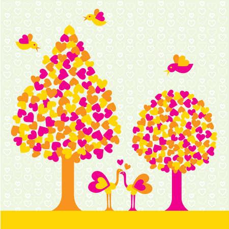 outdoor wedding: Romantic nature scene Illustration