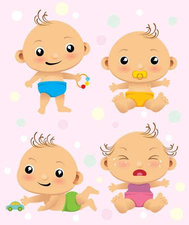 wenen: Leuke cartoon set met pasgeboren baby's.