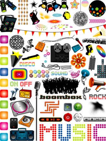 rock logo: colecci�n de gr�ficos con muchos elementos de dise�o de m�sica diferente, m�s ilustraciones de m�sica en mi cartera.