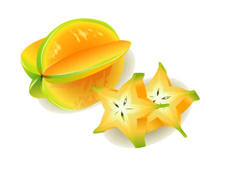 ve: Realistic vector illustration of a Carambola or Starfruit and slices.