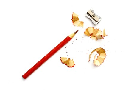 pencil sharpener: sharpened pencil shavings Stock Photo