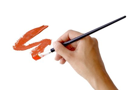 Stroke, painted in red paint with the artists hand and brush