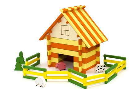 small wooden toy farm with wooden animals Stock Photo - 7115984