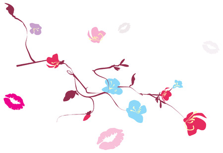 colorful flowers and branches around the traces of kisses