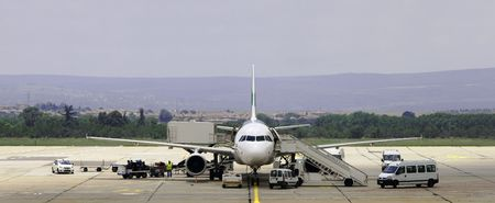 unloading: maintenance of aircraft at the airport in Varna, Bulgaria