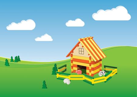 farmyard: toy farm in the fictional environment Illustration