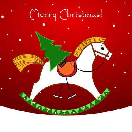 schommelpaard: Kerst kaart. Schommel paard met een kerst boom