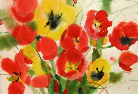 flowers tulips, watercolor
