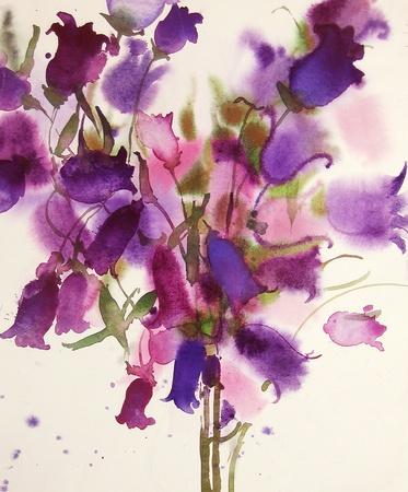 bellflowers, watercolor Stock Photo