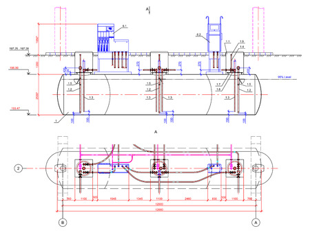drawing of the underground tank. Drawing of underground fuel tanks at petrol station