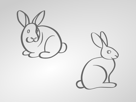 vector image of two rabbits