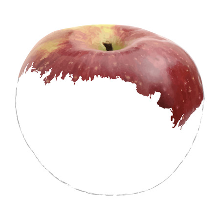 graphic artist: image of an apple. Simulate painting techniques