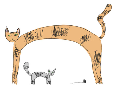 Two cats in the style of childrens drawings. Vector illustration