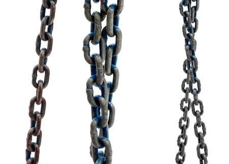 enchain: Several old steel chains on a white background.