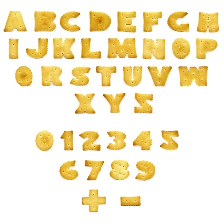 writing western: edible letters and numerals on a white background with shadow Stock Photo