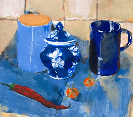 Painting. Still life with blue cups and pepper on a blue napkin Stock Photo - 9532914