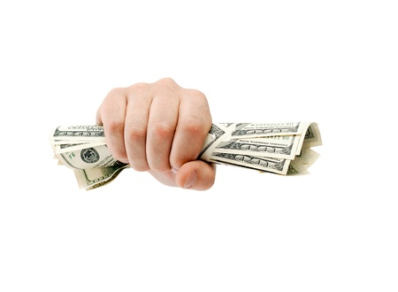 grabbing hand: American dollars clenched isolated on white Stock Photo