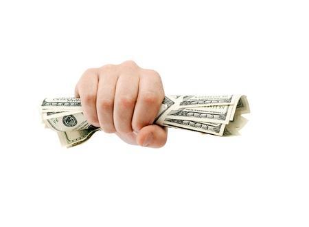 dare soldi: Serrati dollari americani isolato su bianco