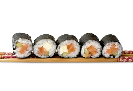 isolated sushi on white