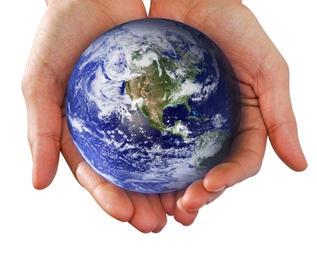 Human Hand Holding the World in Her Hands Stock Photo