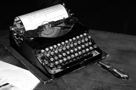 Old typewriter with a paper. Black and white Stock Photo