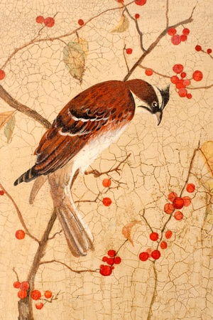 Painting. Colorful bird on branches with red berries