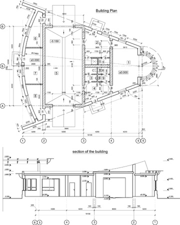 Vector Architectural Drawing Black And White Background Royalty