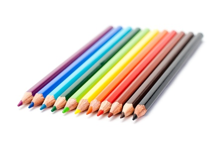 colors pencil in series on white background with drop shadow Stock Photo - 12270077