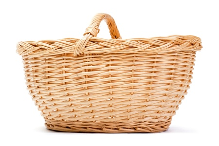 Empty basket on white background with drop shadow photo