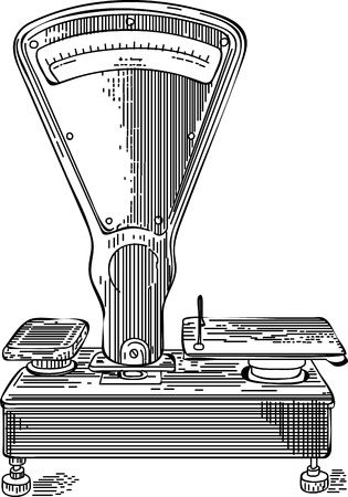 old Soviet scales. illustration in the style of drawing ink. vector.
