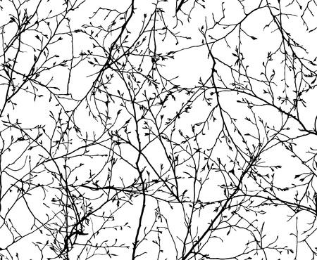 ベクトルの白い背景の上の枝のシームレスなテクスチャ
