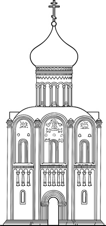 intercession: Church of the Intercession on the Nerl. Old Russian Orthodox church of the 12th century. Vector drawing Illustration