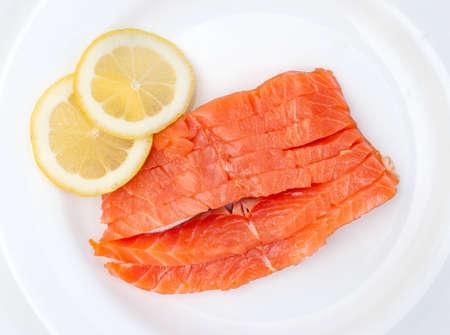 raw big salmon bar on the white background photo