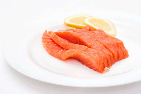 raw big salmon bar on the white background photo