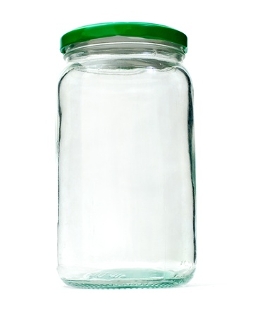 glass jar with a green cap photo