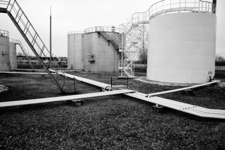 White storage tank with stairs photo