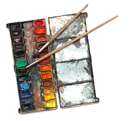 paintbox: watercolor paint box with messy brushes Stock Photo