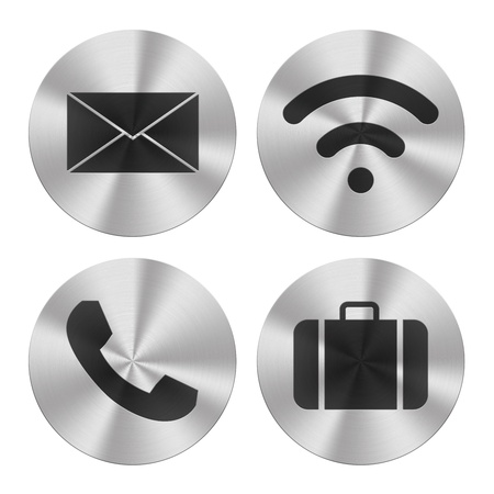call us: Signs on aluminum plates isolated on white  Communication group icons