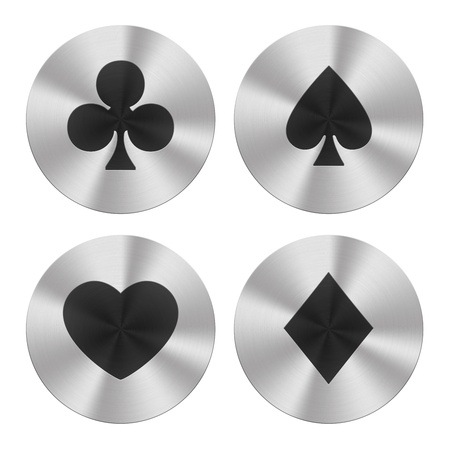 Signs on aluminum plates isolated on white  Playing cards group icons photo