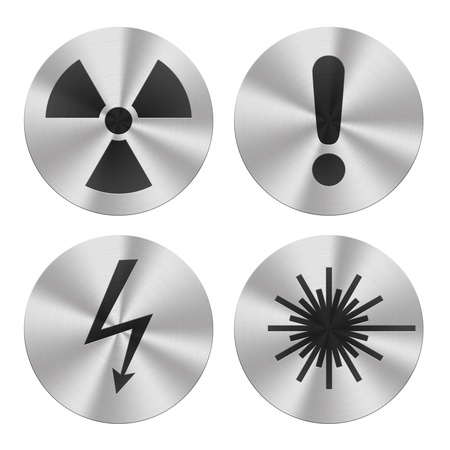 Signs on aluminum plates isolated on white  Hazard group icons photo