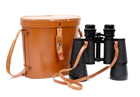 Black binoculars with orange cover Stock Photo - 16405392