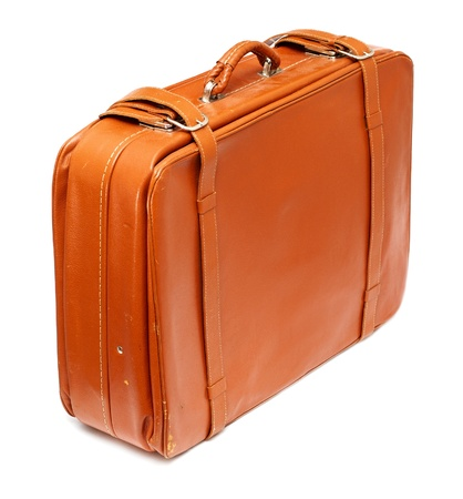 Vintage leather suitcase with visible signs of use