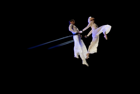 BELARUS, MINSK - JANUARY 12  Kniga Oleg and Kotova Julia doing graceful aerial trick  Circus in Minsk, Belarus on January 12, 2013