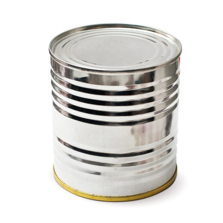 silver tin with clipping path photo