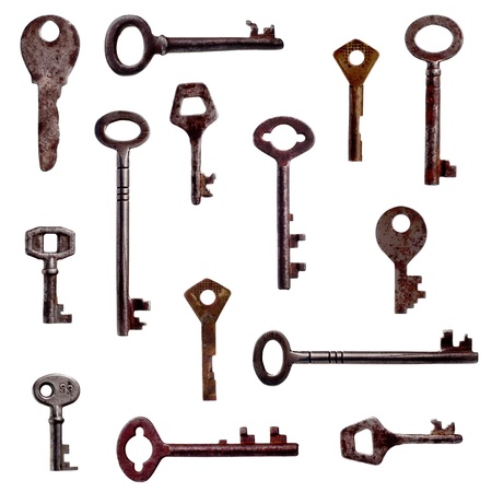 Seamless pattern with antique keys photo