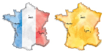 france painted: France map on flag watercolor painted