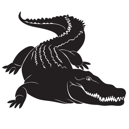 Big crocodile with terrible canines  vector image Illustration