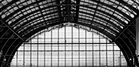 Beautiful windows of Antwerp central station in belgium Stock Photo