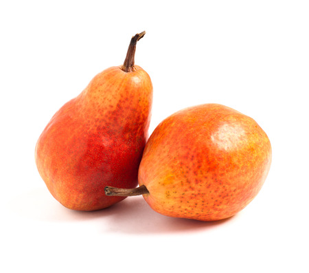 Two red pears on white background Stock Photo - 22799370