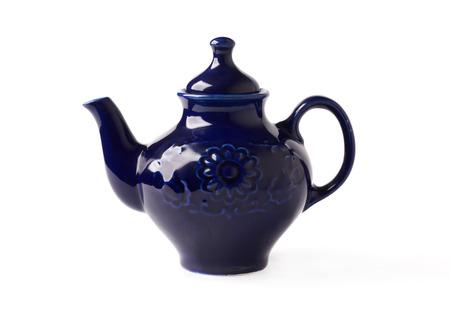 antique porcelain teapot blue on a white background photo